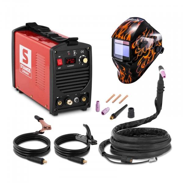Svařovací set TIG svářečka - 250 A - 230 V - přenosná + Svářecí helma - Firestarter 500 - ADVANCED SERIES