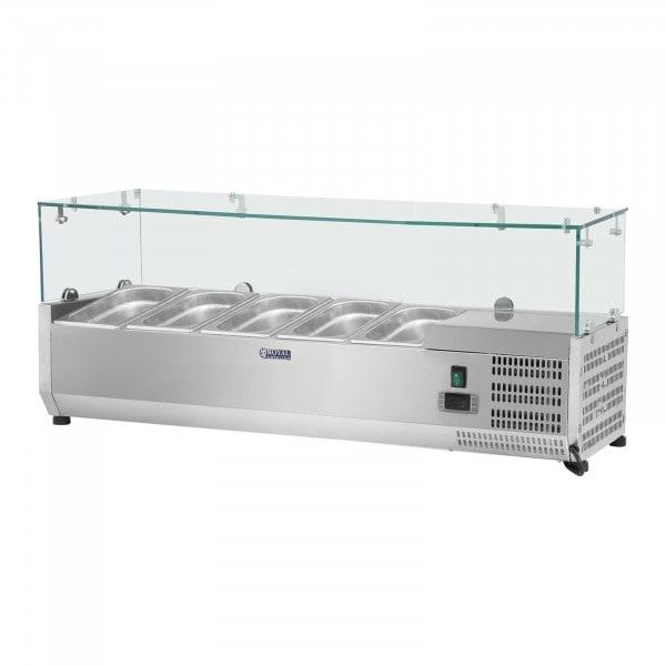 Chladicí nástavba - 120 x 33 cm - 5 GN nádob 1/4 - skleněný zákryt