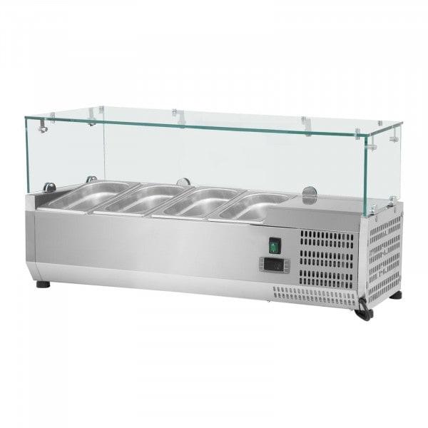 Chladicí nástavba- 120 x 39 cm - 4 GN nádoby 1/3 - skleněný zákryt