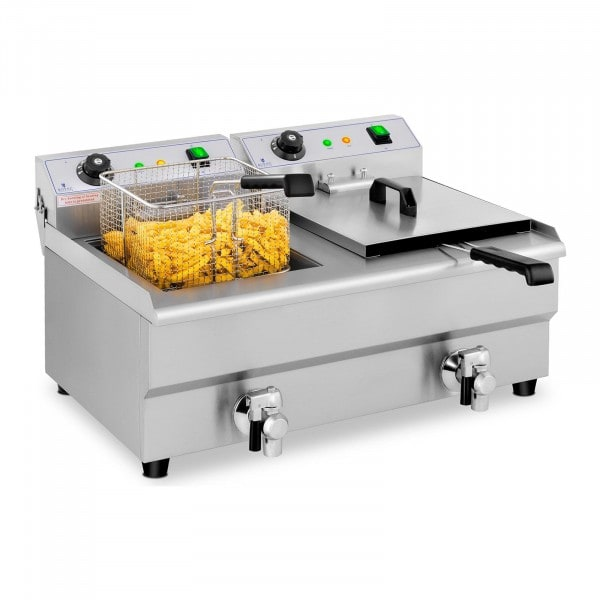B-zboží Elektrická fritéza - 2 x 13 litrů - vypouštěcí kohouty - 230 V