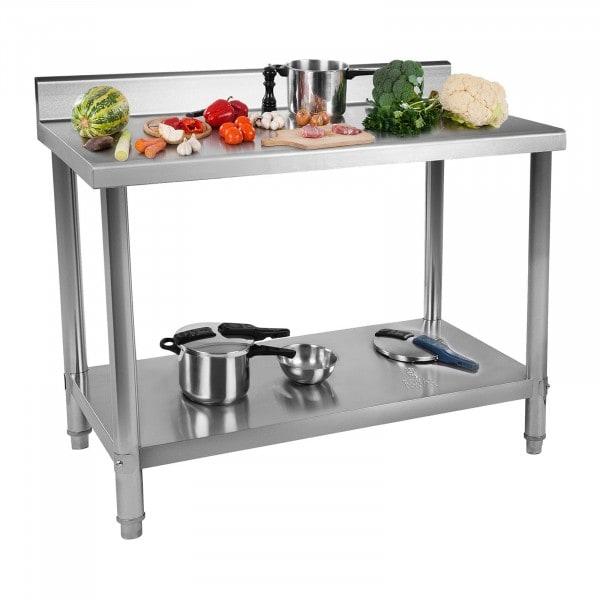 B-zboží Pracovní stůl z ušlechtilé oceli - 120 x 60 cm - s lemem - nosnost 137 kg