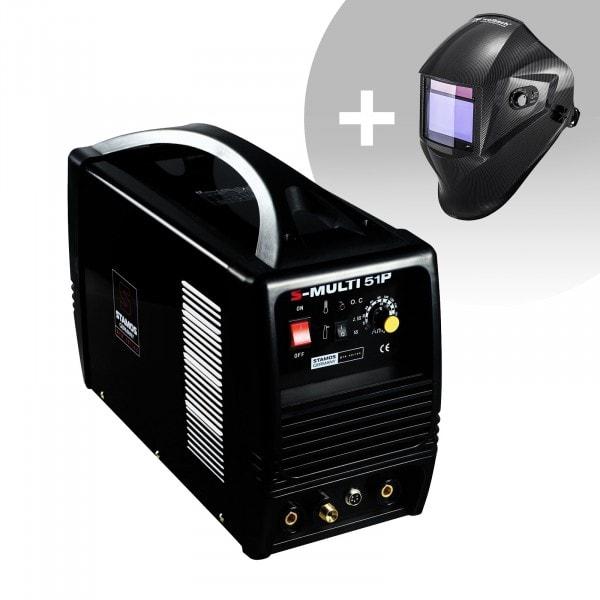 Svařovací set Kombi svářečka - TIG 180 A - Cut 50 A - MMA - PRO + Svářecí helma - Carbonic - PROFESSIONAL SERIES