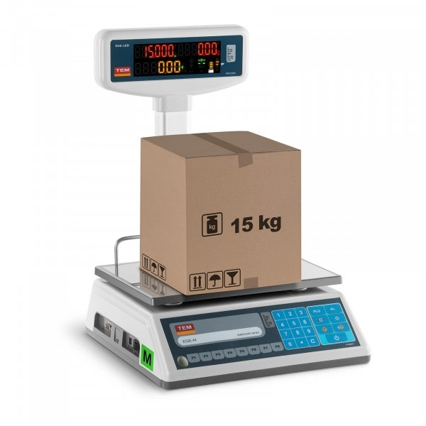 B-zboží Obchodní váha s oboustranným LED displejem - 6 kg/2 g - 15 kg/5 g