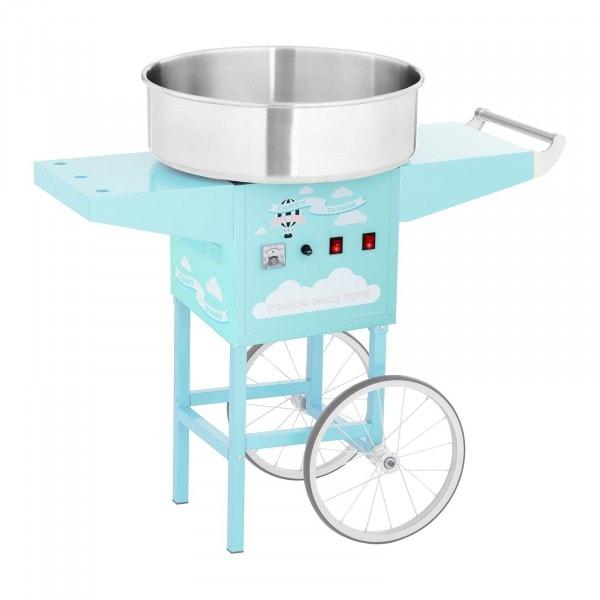 Stroj na cukrovou vatu s vozíkem - 52 cm - 1 200 W - tyrkysový
