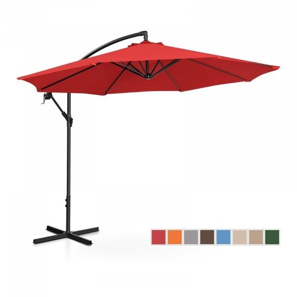 B-zboží Boční slunečník - červený - kulatý - Ø 300 cm - s náklonem