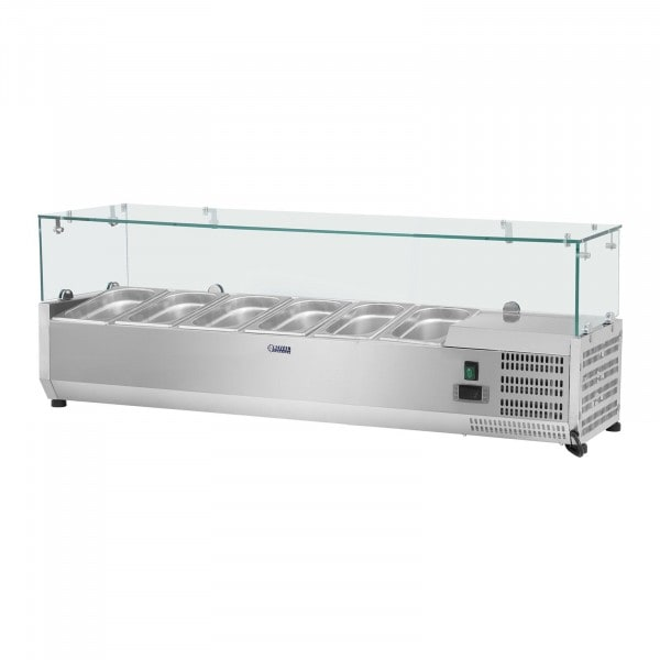Chladicí nástavba - 140 x 33 cm - 6 GN nádob 1/4 - skleněný zákryt