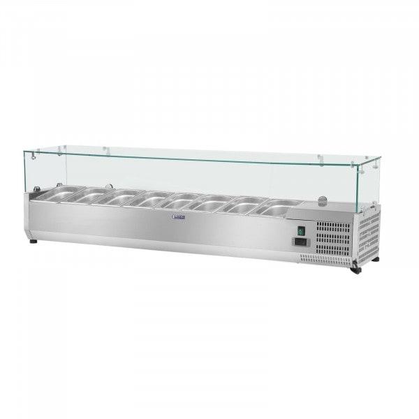 Chladicí nástavba- 180 x 39 cm - 8 GN nádob 1/3 - skleněný zákryt