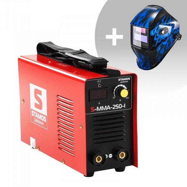 Svařovací set Elektrodová svářečka - 250 A - 230 V - IGBT + Svářecí helma - Sub Zero - EASY SERIES