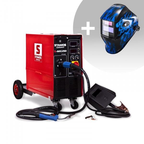 Svařovací set MIG/MAG svářečka - 250 A - 400 V - s vozíkem + Svářecí helma - Sub Zero - EASY SERIES