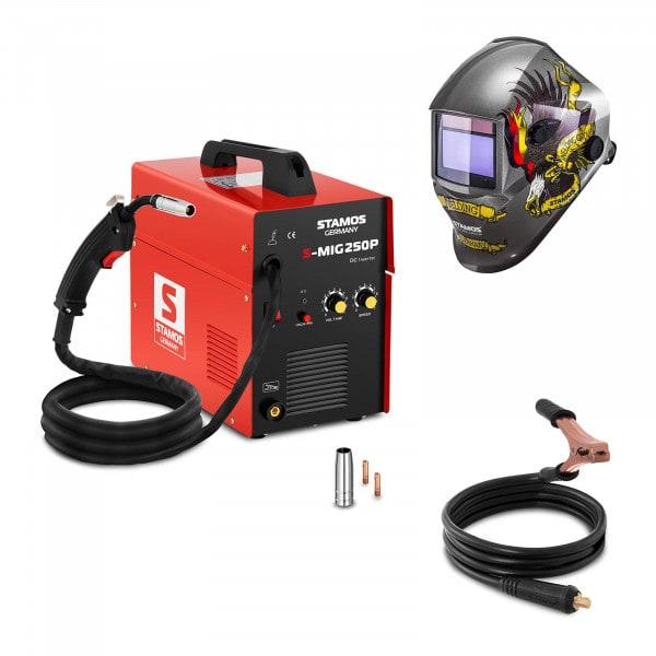 Svařovací set MIG/MAG svářečka - 250 A - 230 V - přenosná + Svářecí helma- Eagle Eye - ADVANCED SERIES