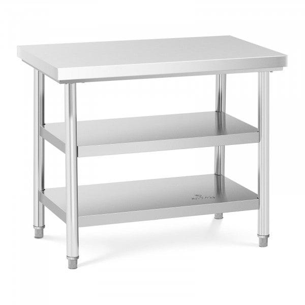 B-zboží Rozsdamentes acél asztal - 100 x 60 cm - 600 kg - 3 szint