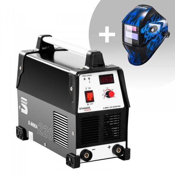 Svařovací set Elektrodová svářečka - 220 A - 230 V + Svářecí helma - Sub Zero - EASY SERIES