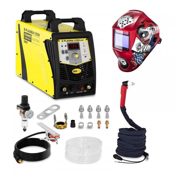 Svařovací set Plazmová řezačka - 125 A - 400 V - zapalování s pilotním startem + Svářecí helma - Pokerface - PROFESSIONAL SERIES