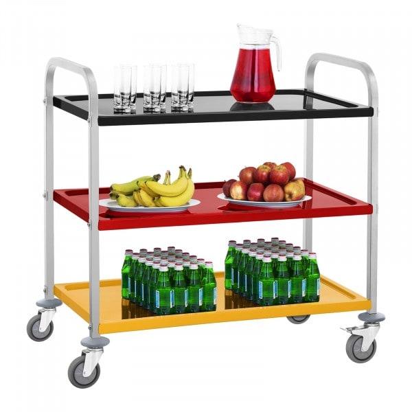 Servírovací vozík z ušlechtilé oceli - 3 police - do 500 kg - barevný