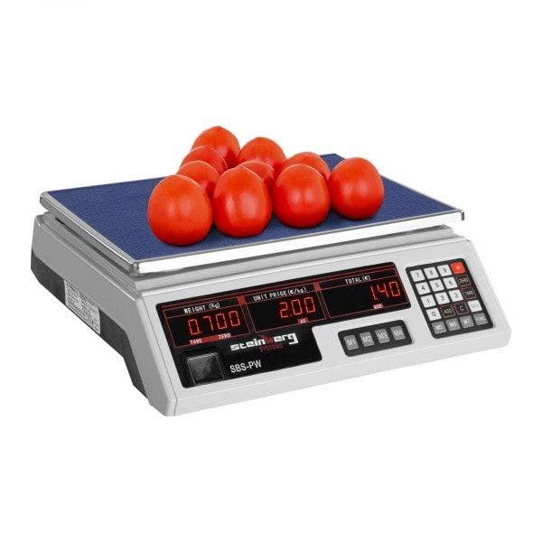 B-WARE Obchodní váha - 30 kg / 2 g - bílá - LED