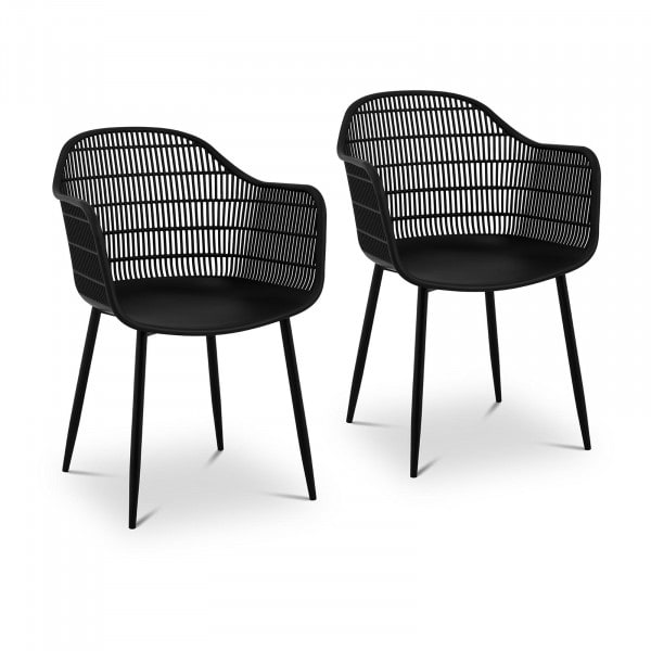 B-zboží Židle - 2dílná sada - až 150 kg - sedák 45 x 44 cm - černá