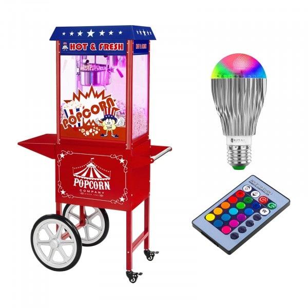 Stroj na popkorn s vozíkem a LED osvětlením - USA design - červený