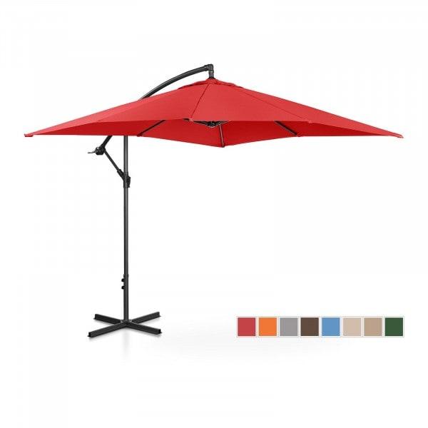 B-zboží Boční slunečník - červený - čtvercový - 250 x 250 cm - s náklonem