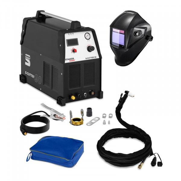 Svařovací set Plazmová řezačka - 90 A - 400 V + Svářecí helma - Carbonic - PROFESSIONAL SERIES