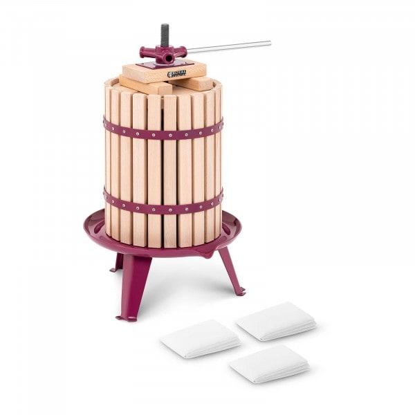 B-zboží Lis na ovoce ruční - dřevěný koš - 18 l - dřevěné špalíky, lisovací půlkruhy a 3 lisovací roušky