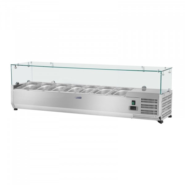 Chladicí nástavba- 160 x 39 cm - 7 GN nádob 1/3 - skleněný zákryt