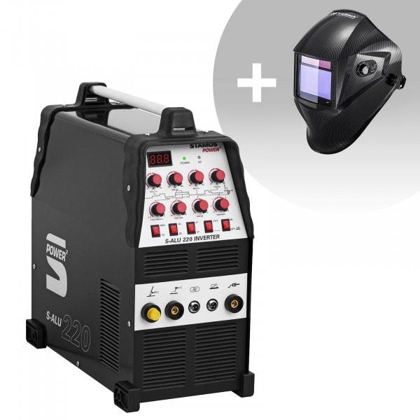 Svařovací set ALU svářečka - 200 A - 230 V - Puls - 2/4 takt + Svářecí helma - Carbonic - PROFESSIONAL SERIES