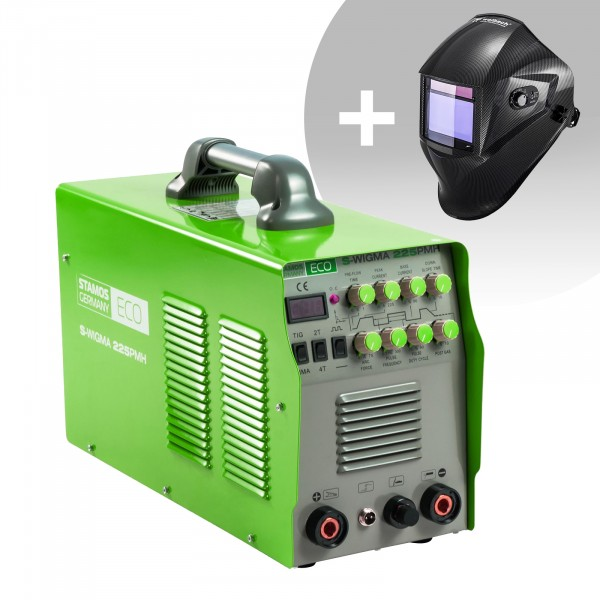 Svařovací set TIG svářečka - 225 A - 230 V - Puls -2/4 takt - ECO + Svářecí helma - Carbonic - PROFESSIONAL SERIES