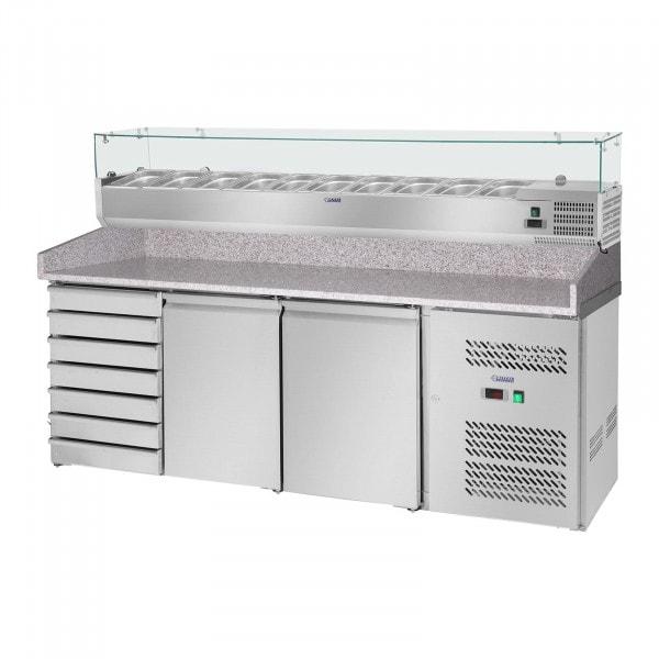 Chladicí pizza stůl - 702 l - žulová pracovní deska - 2 dveře