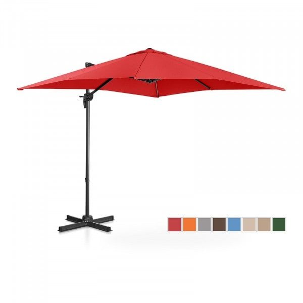 B-zboží Boční slunečník - červený - čtvercový - 250 x 250 cm - otočný