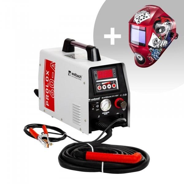 Svařovací set Plazmová řezačka - 40 A - 230 V - digitální - zapalování s pilotním startem + Svářecí helma - Pokerface - PROFESSIONAL SERIES