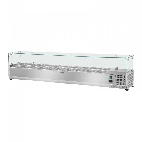 Chladicí nástavba - 200 x 33 cm - 10 GN nádob 1/4 - skleněný zákryt