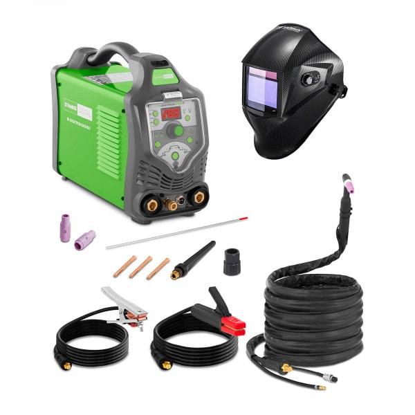 Svařovací set TIG svářečka - 200A - 230 V - Puls - digitální - 2/4 takt + Svářecí helma - Carbonic - PROFESSIONAL SERIES