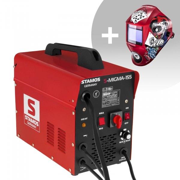 Svařovací set Kombinovaná svářečka - 155 A - 230 V - přenosná + Svářecí helma - Pokerface - PROFESSIONAL SERIES