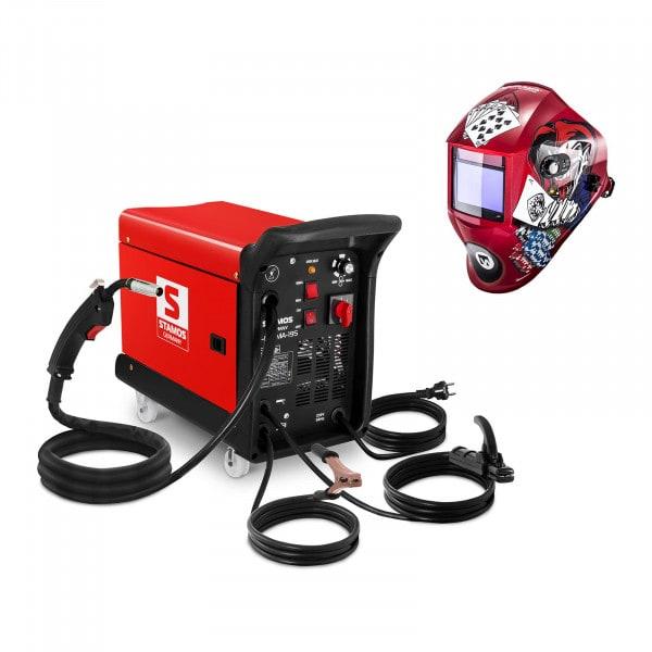 Svařovací set Kombinovaná svářečka - 195 A - 230 V - přenosná + Svářecí helma - Pokerface - PROFESSIONAL SERIES