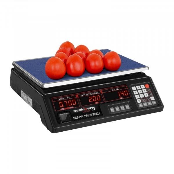 Obchodní váha - 30 kg / 2 g - černá - LED