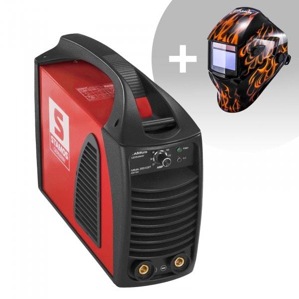 Svařovací set Elektrodová svářečka - 200 A - Hot Start - IGBT + Svářecí helma - Firestarter 500 - ADVANCED SERIES