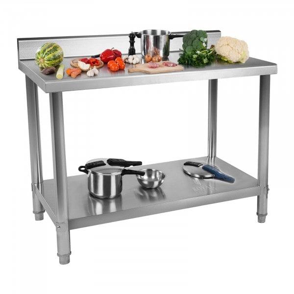 Pracovní stůl z ušlechtilé oceli - 150 x 60 cm - s lemem