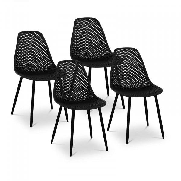 B-zboží Židle - 4dílná sada - až 150 kg - sedák 52 x 46,5 cm - černá