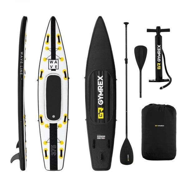 B-zboží Nafukovací stand up paddleboard - 120 kg - černá / žlutá - sada s pádlem, sedátkem a příslušenstvím