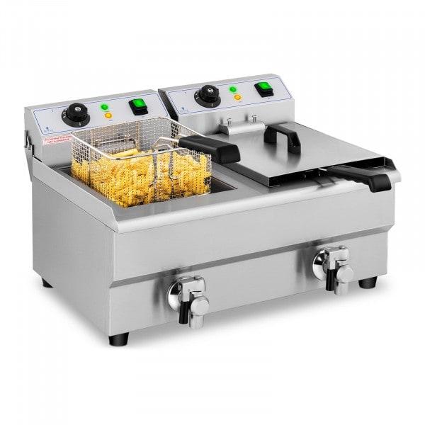 Elektrická fritéza - 2 x 10 litrů - vypouštěcí kohouty - 230 V