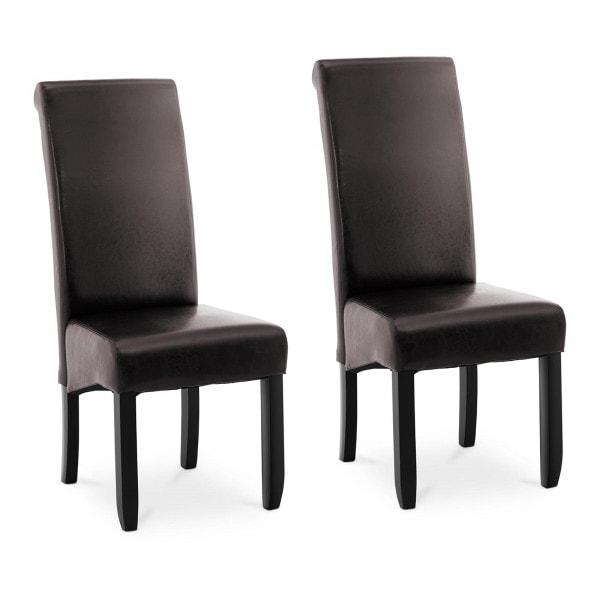 B-zboží Čalouněná židle - sada 2 kusů - do 180 kg - sedací plocha 44,5 x 44 cm - tmavě hnědá