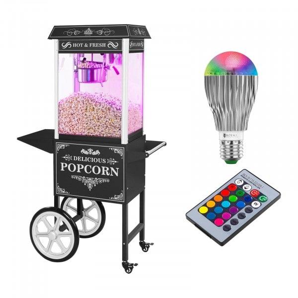 Stroj na popkorn s vozíkem a LED osvětlením - retro vzhled - černý
