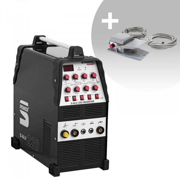 Svařovací set ALU svářečka - 200 A - 230 V - Puls - 2/4 takt + Fotpedal - S-ALU-220