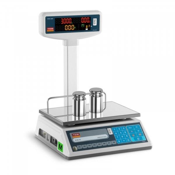 Obchodní váha s oboustranným LED displejem - 1,5 kg/0,5 g - 3 kg/1 g