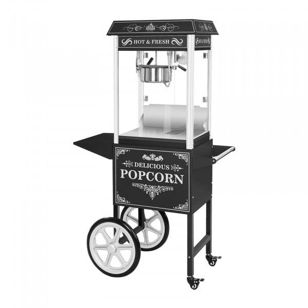 Stroj na popcorn s vozíkem - černý