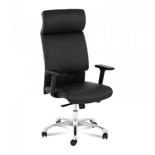 B-zboží Kancelářská židle - manažerské křeslo - syntetická kůže - chrom - opěrka hlavy - 150 kg