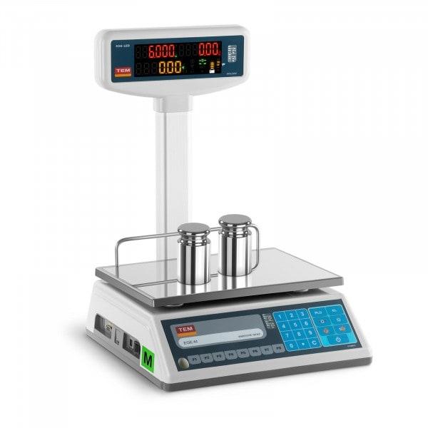 Obchodní váha s oboustranným LED displejem - 3 kg/1 g - 6 kg/2 g