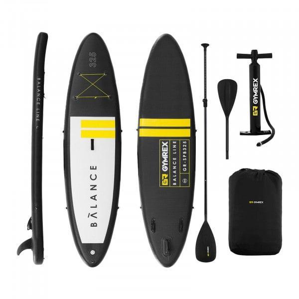 Nafukovací stand up paddleboard - 145 kg - černá / žlutá - sada s pádlem a příslušenstvím