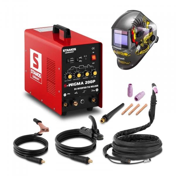 Svařovací set TIG svářečka - 200 A - 230 V - Puls + Svářecí helma- Eagle Eye - ADVANCED SERIES
