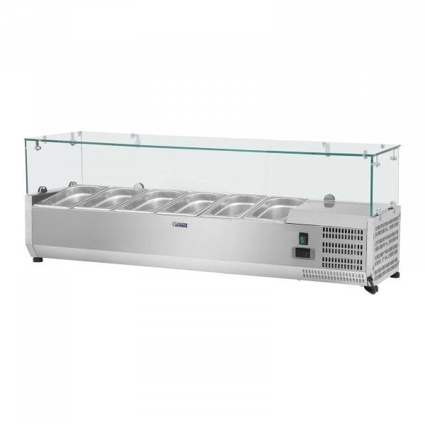 Chladicí nástavba- 140 x 39 cm - 5 GN nádob 1/3 - skleněný zákryt
